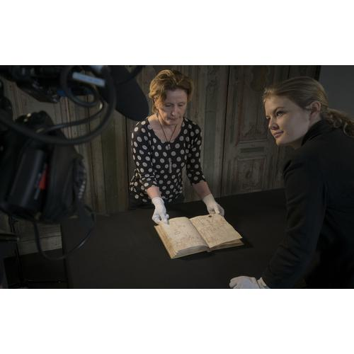 Filming with Rosie Razzall, Curator of Prints and Drawings, Royal Collection Trust, at Galleria dell'Accademia, Venice.